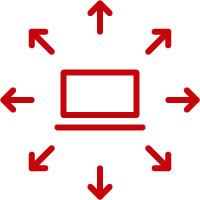 Line art image of a laptop with arrows going outward