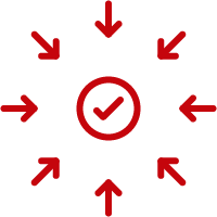 Line art image of a checkmark with arrows going inward
